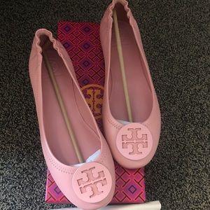 Tory Burch Minnie Travel Retro Pink Ballet Flats 8